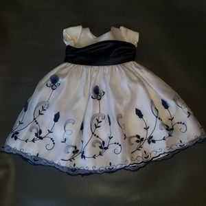 Other - White and Navy Girls Formal Dress